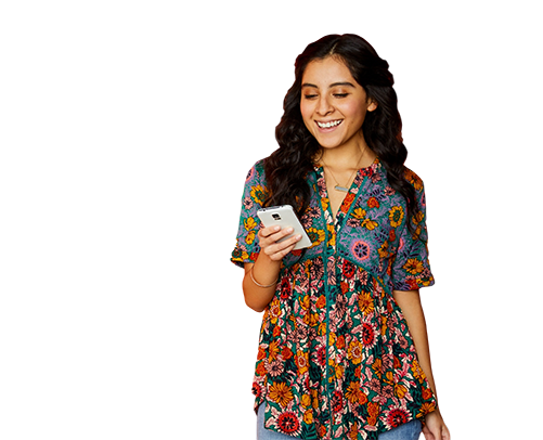 An image of a woman holding a smartphone